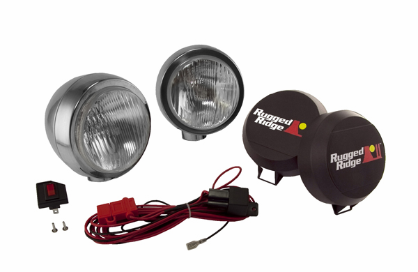 OMIX [ 1520651 ] HID Off-Road lights 6� round, 2 light kit w/ wiring harness, stainless