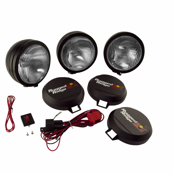 "OMIX [ 1520561 ] HID Off-Road lights 6"" round, 3 light kit w/ wiring harness, black"