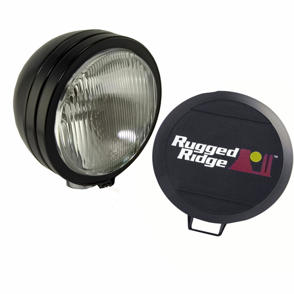 "OMIX [ 1520501 ] HID Off-Road lights 6"" round, single light, black"