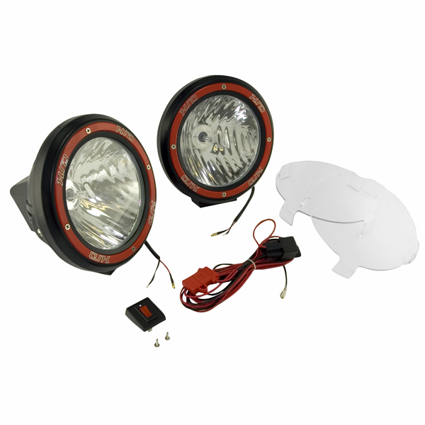OMIX [ 1520553 ] HID Off-Road lights 7� round, 2 light kit w/ wiring harness, black