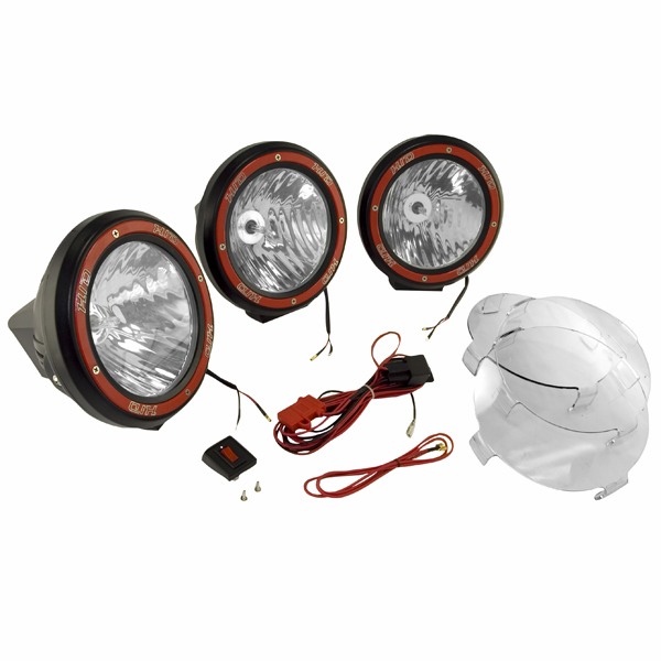 OMIX [ 1520563 ] HID Off-Road lights 7� round, 3 light kit w/ wiring harness, black
