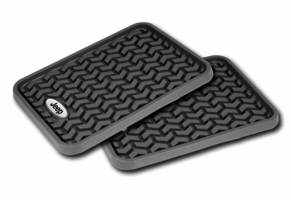 OMIX [ DMC-8295001 ] Rear Black Floor Liner Pair With Jeep Logo, Universal Application