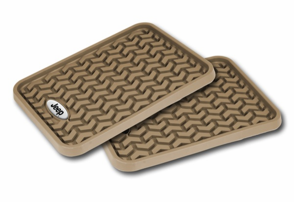 OMIX [ DMC-8395001 ] Rear Tan Floor Liner Pair With Jeep Logo, Universal Application