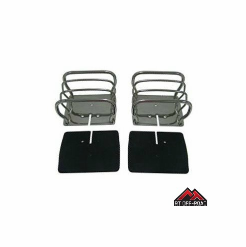 Stainless Steel Euro Tail Light Guards, 1976-1986 Jeep CJ, 1987-2006 Wrangler YJ, TJ by RT Off-Road