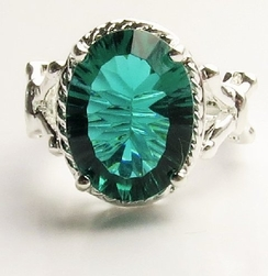 Alura Silver Emerald Crystal Oval  Ring
