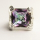 Alura Silver Mystic Topaz Crystal Fancy Square Ring