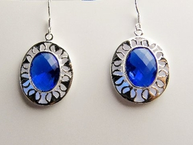 Alura  Silver Collection Sapphire Crystal Oval Earrings