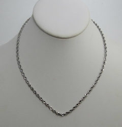 Alura  Silver Collection Twisted Rope Chain Necklace