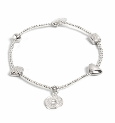 Good Charma Feather Heart Silver Bracelet