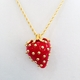 Kenneth Jay Lane Red Strawberry Gold Dot Necklace