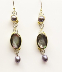 Michou Timeless Scrolls Grey & Black Mother of Pearl Earrings