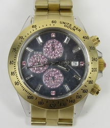 VaBene Chronograph Brushed Gold Rose Crystal Watch