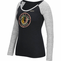 Blackhawks Women's CCM Retro Logo LS T-Shirt