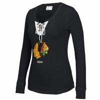 Blackhawks Ladies CCM Henley Lace Up L/S Tee