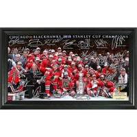 Blackhawks 2015 Stanley Cup Champions Autographed Rink Photo