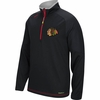 Blackhawks Reebok Black Center Ice PlayDry 1/4 Pullover