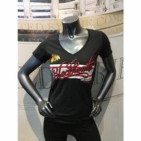 Blackhawks Ladies Script Stripe Tee