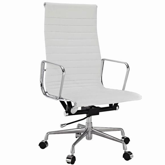 AG Ribbed High Back Office Chair White