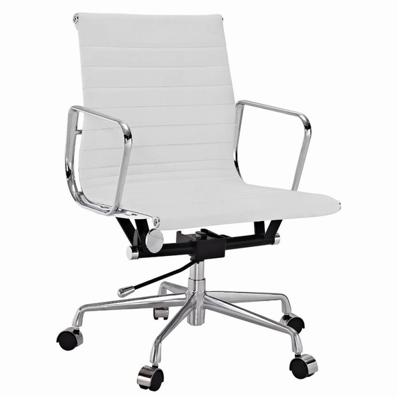 eames replica office chair white executive metro style ribbed mid