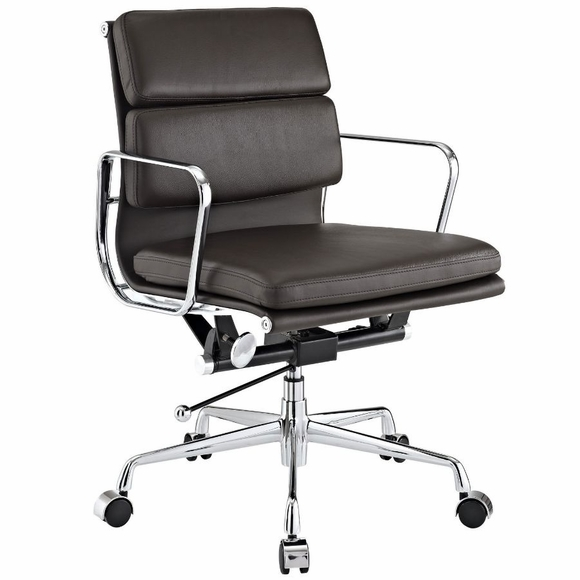 AG Soft Padded Mid Back Office Chair Brown