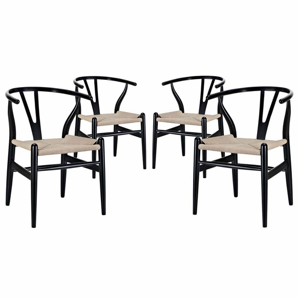 Amish Dining Armchair Set of 4 in Black