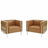 Charles Grande Armchairs Leather Set Of 2