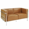 Charles Grande Loveseat and Armchair Leather Set Of 2