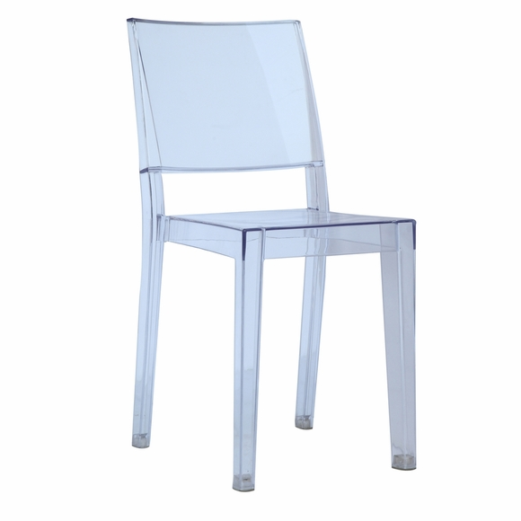 Clear Square Side Chair, Clear