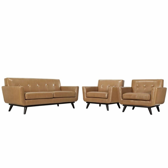 Engage 3 Piece Leather Living Room Set Modern In Designs