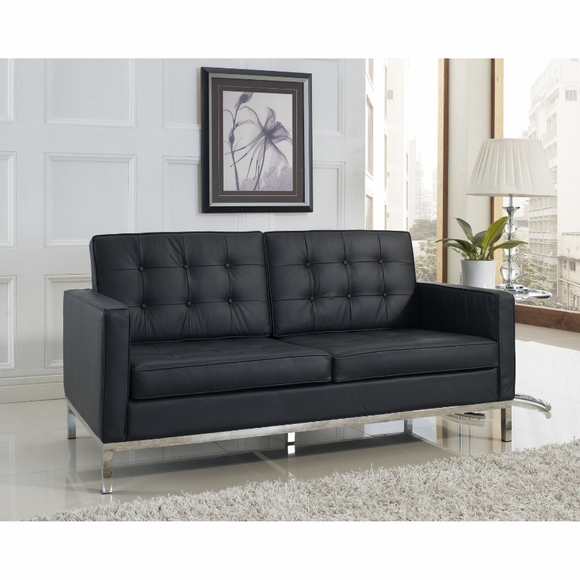 Florence Knoll Two Seat Loft Sofa Sectional Couch Leather Modern In Designs