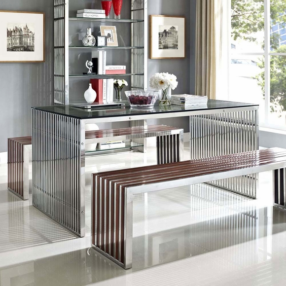 Gridiron Stainless Steel Dining Table - Modern In Designs