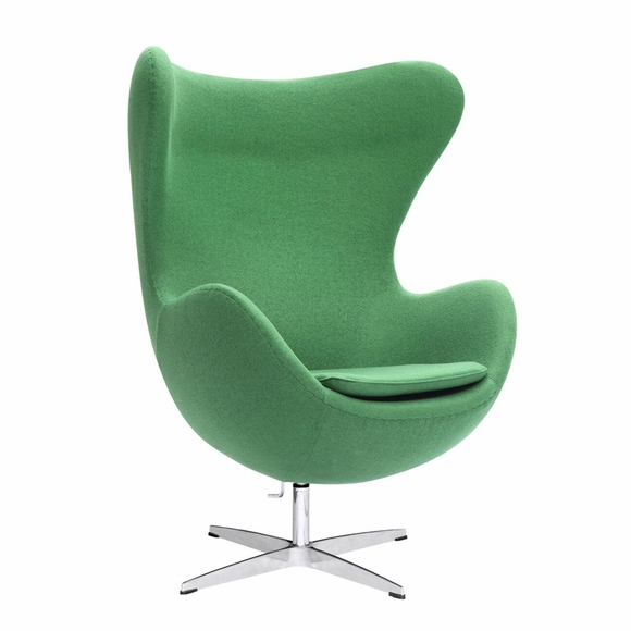 Jacobsen Style Egg Chair Wool Green