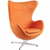 Jacobsen Style Egg Chair Wool Orange