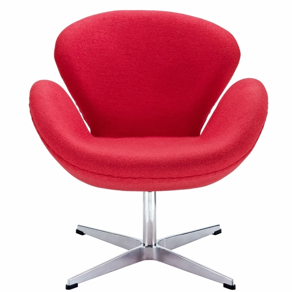 Jacobsen Swan Chair Wool Red