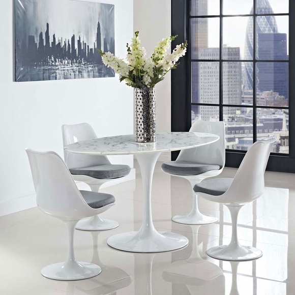 Lippa 60 Quot Oval Shaped Artificial Marble Dining Table