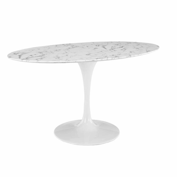 lippa 60 oval shaped artificial marble dining table modern in designs. Black Bedroom Furniture Sets. Home Design Ideas