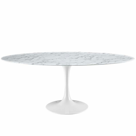 """Lippa 78"""" Artificial Marble Dining Table"""