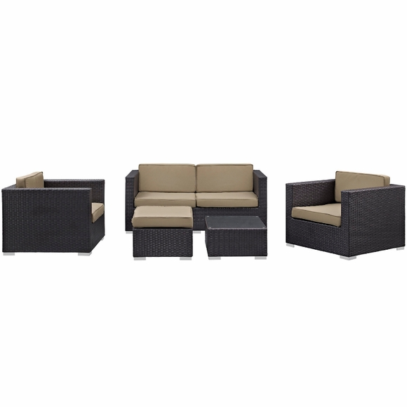 Malibu 5 piece outdoor patio sofa set for Malibu outdoor sectional sofa