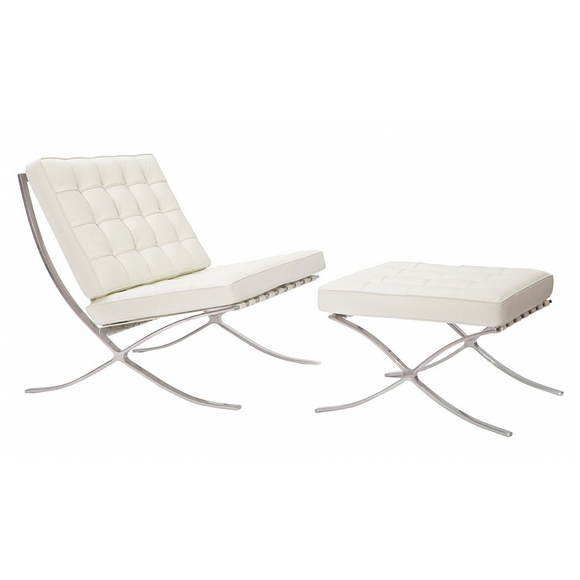 Pavilion Exposition Chair & Ottoman White