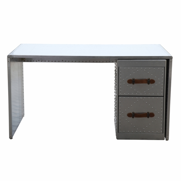 Riveted Aluminum Desk Silver Modern In Designs