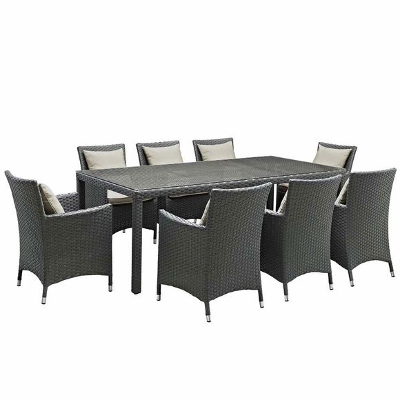 Sojourn 9 Piece Outdoor Patio Sunbrellau0026reg; Dining Set