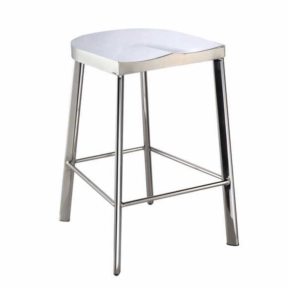 Swiss Polished Counter Stool, Silver