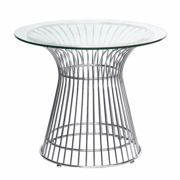 Wire Side Table, Glass