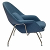 Womb Lounge Chair and Ottoman Wool Blue Tweed