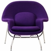 Womb Lounge Chair and Ottoman Wool Purple