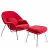 Womb Lounge Chair and Ottoman Wool Red