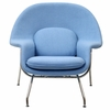 Womb Lounge Chair and Ottoman Wool Baby Blue