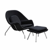 Womb Lounge Chair and Ottoman Wool Black