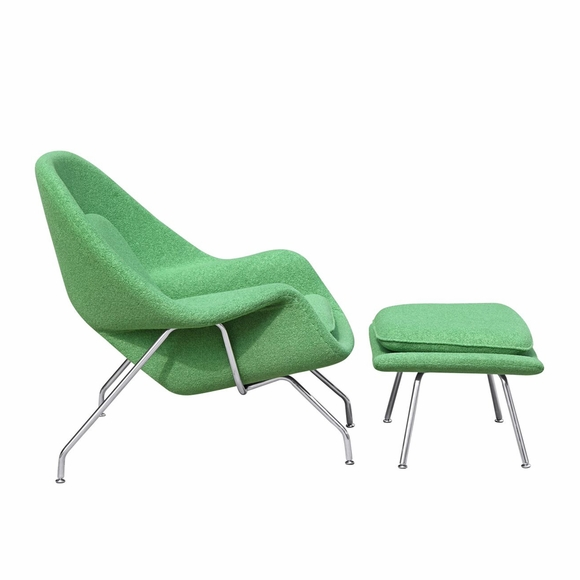 Womb Lounge Chair and Ottoman Wool Green
