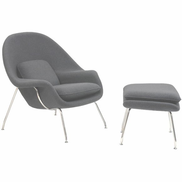 Womb Lounge Chair and Ottoman Wool Light Gray